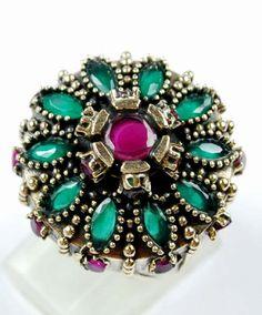 Rare Round Design Emerald/Ruby Gemstone Ring Solid by ernestosaks