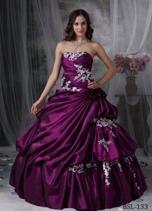 Discount Taffeta Dress for Quinceanera with Appliques and Strapless