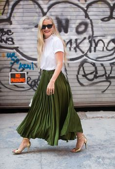 accordion skirt New York Fashion Week Street Style Spring 2017: The Best Moments from NYFW | StyleCaster