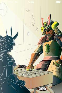 Samurai playing Igo