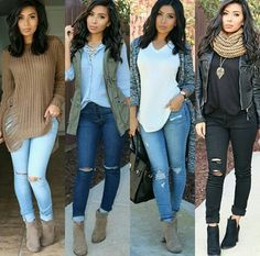 Like the black only... would consider the sweater just in all black and grey Cute Fall Outfits, Fall Winter Outfits, Classy Outfits, Chic Outfits, Spring Outfits, Fashion Outfits, Womens Fashion, Look Fashion, Autumn Fashion