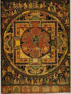 "The traditional way to create a mandala is to start at the center and expand outward on the design. The most basic form of a mandala has four ""T-shaped gates"" and includes the colors yellow, red, green, and blue. Depending on how open you are with the def Buddhist Texts, Buddhist Art, Tibetan Art, Tibetan Buddhism, Tibetan Mandala, Vajrayana Buddhism, Thangka Painting, Sacred Art, Mandala Design"
