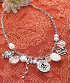 You can just feel the magic of this captivating #Necklace. #Cubic #Zirconia, #Pearl, Mother-of-Pearl, #Glass, #Sterling #Silver. #Silpada #Jewelry #Necklace