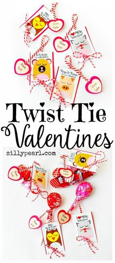 Twist Tie Valentines with Free Printable by The Silly Pearl - Wrap them around candy or non-candy treats!