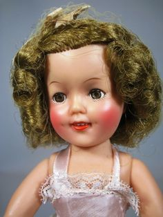 "High Color 1950's 12"" Ideal Shirley Temple Doll, Orig Dress and Pin"
