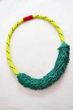 Green suede neon yellow rope long necklace, summer jewelry, statement necklace. €50.00, via Etsy.