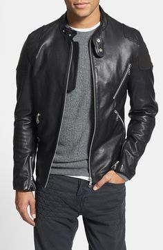 Not loving the shoulder detailing on the jacket but the length is nice and the colors in the whole outfit work. 7 Diamonds 'Brando' Black Leather Moto Jacket with Suede Trim Leather Fashion, Leather Men, Black Leather, Mens Fashion, Brown Leather Jacket Men, Classic Leather Jacket, Custom Leather, Real Leather, Stylish Men