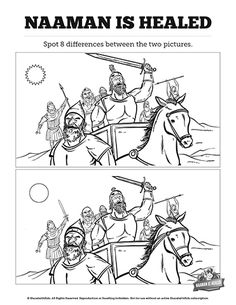 Naaman The Leper 2 Kings 5 Kids Spot The Difference: Can you spot the difference between these two Naaman the leper Sunday school illustrations? A fun and playful activity this Sunday school printout is just the thing to take your 2 Kings 5 kids Bible lesson to the next level.