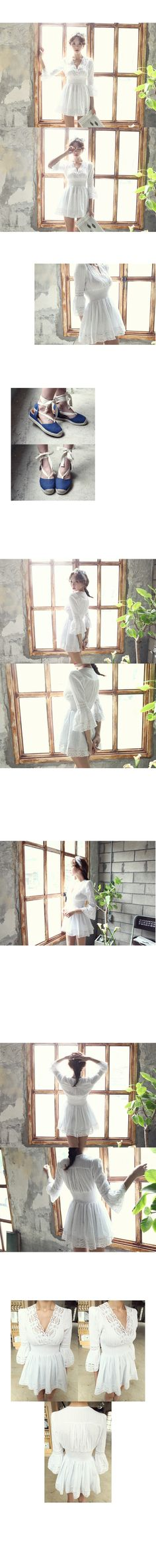 Shirred V Neck Lace Dress | DABAGIRL, Your Style Maker | Korean clothes, bags&shoes, accessories, cosmetics