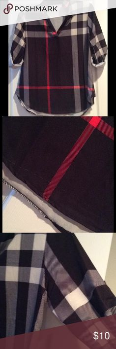 Plaid black stylish shirt NEW!!!  Just opened the bag and noticed 2 defects, please see pics 2 &3.  a snag & a spot on the arm.  Price reflects..... I have post of this shirt in my closet in black , beige & white.  Please follow the size guid, runs a little small.  Thank you Tops