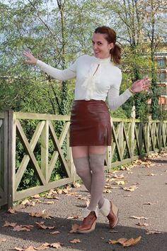 Leather skirt? dandy style! – The Indian Savage diarybrown leather skirt, stocking, wedges booties IndianSavage The diary of a fashion apprentice
