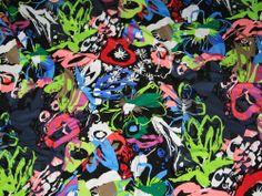 Lime, Pink, Blue Multi Print Stretch Jersey Spanish Designer Dress Fabric - per metre