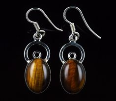 GIFT FOR ST. PATRICK'S DAY TIGER'S EYE GEMSTONE EARRINGS 925 STERLING SILVER E27 #Unbranded