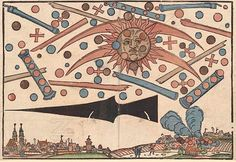 """The aerial UFO battle of 1561 over Nuremberg, Germany. These craft look exactly like the cigar shaped UFO's with spheres and chevron shaped UFO's of today.And they are clearly AT WAR. Find out which is defending the sentient life here and side with them ONLY. Any species experimenting on human beings is not a """"friendly"""" & if you think they are ,you have Stockholm syndrome."""