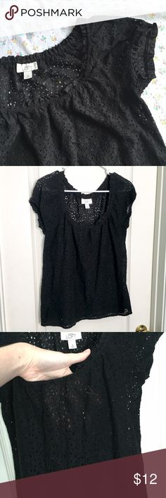 ANN TAYLOR LOFT eyelet sheer career blouse tee Ann Taylor LOFT  Black open / see through eyelet design.  Fits like a tee.  Perfect to dress up or down.  Would need a cute bralette or Cami/tank under. Size medium! Great pre loved condition! Still looks new! Cover photo has been lighted so you can see detail! It is a true black color.    All items are negotiable! Everything must go so I can shop more! LOL! I accept tons of offers!  Please make an offer through the offer button or bundle to get…
