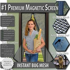 Premium Magnetic Screen Door - KEEP BUGS OUT Lets Fresh Air In. No More Mosquitos or Flying Insects. Instant Bug Mesh with Top-to-Bottom Seal, Snaps Shut Like Magic for a Hands-Free Bug-Proof Curtain Premium Choice Products http://smile.amazon.com/dp/B00TOG2GQC/ref=cm_sw_r_pi_dp_P3zfxb0DAQXTB
