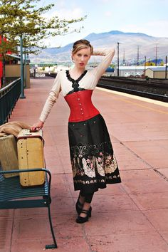 Madeleine in our CS-305 Red Leather Corset- Wenatchee Train Depot