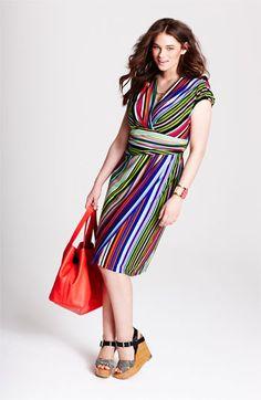 Suzi Chin for Maggy Boutique Stripe Jersey Faux Wrap Dress (Plus Size)