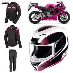 Package deal 👌Street bike, crotch rocket, performance motorcycle, sport and super sport motorcycle Pink Motorcycle, Motorcycle Clubs, Sport Motorcycles, Street Bike Helmets, Street Bikes, Lady Biker, Biker Girl, Pt Cruiser, Cafe Racer Build