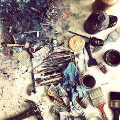 Painting table... #art #painting #abstract #mixedmedia #contemporaryart #studiolife #ss16 #aw16 #fw16