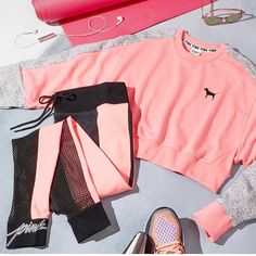 Crushin' on colorblock Sporty Outfits, Pink Outfits, Athletic Outfits, Dance Outfits, Victoria Secrets, Victoria Secret Outfits, Pink Shoes Outfit, Jogging Outfit, Fashion Pants