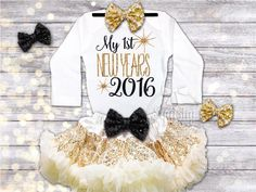 First New Years Outfit Baby Girl New Years Eve Bodysuit New Years Outfit 2016 Baby Outfit Sparkle New Years Outfit Black and Gold, NB-7T by BabySquishyCheeks on Etsy https://www.etsy.com/listing/257603490/first-new-years-outfit-baby-girl-new