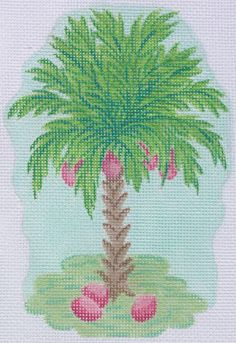 needlepoint palm tree in preppy colors