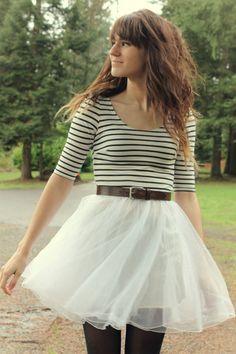 White Striped Dresses, Black Tights, Dark Brown Vintage Belts
