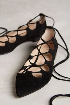 Lace up black flats - love these!