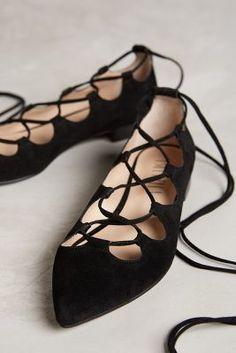 Trending On ShopStyle - Anthropologie Billy Ella Lace-Up Flats Black 6 Flats - ShopStyle Women