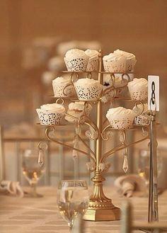 GOLD CUPCAKE CANDELABRA Centerpiece Stand Crystal Gold Distressed Cake Dessert Vintage Styler Wedding Tea Shabby Chic Rustic Gatsby Parisian