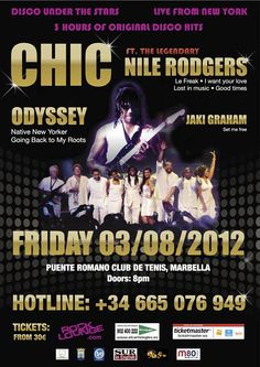 Chic and Odyssey double bill at the Puente Romano Tennis Club this August.