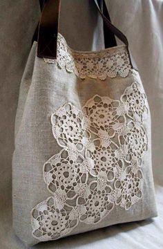 Crochet Lace Bag Doilies New Ideas Patchwork Bags, Quilted Bag, Crazy Patchwork, Crochet Doilies, Crochet Lace, Crochet Motif, Lace Bag, Linens And Lace, Denim Bag