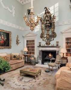 DRAWING ROOM DELIGHT: In the London mews house of Drue and Jack Heinz, a layered confection appointed by decorator John Fowler in the Colfax And Fowler, How To Clean Brick, Mews House, World Of Interiors, Small Furniture, Drawing Room, Life Is Beautiful, Beautiful Homes, Architecture Details