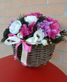 GERLA MEDIA Clotilde - PatriziaB.com Gerla decorativa, meravigliosa composizione di fiori artificiali, bacche e fogliame nelle tonalità del glicine, dell'avorio e del magenta