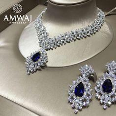 A Diamond with blue sapphire set from Amwaj Jewellery...simply breathtaking.