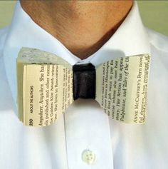 Book Bow Tie. Bind some pages in the center with a piece of leather or fabric. An amazing work.