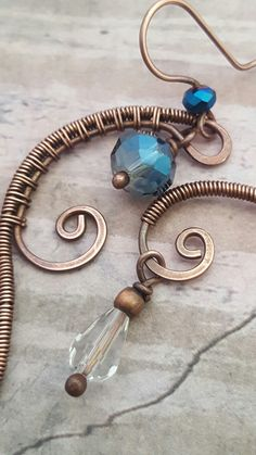 Copper wire wrapped earrings with crystals