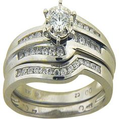 1/2 Carat T.W. Diamond Bridal Set in 14kt White Gold