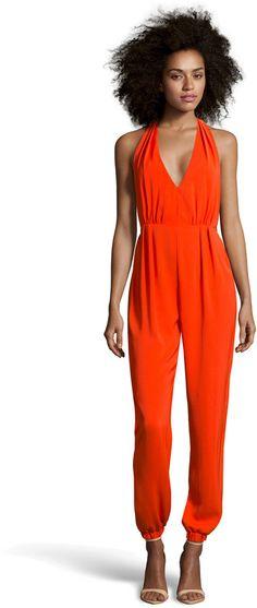 Shop BooHoo Boutique Lidia Halter Neck Backless Jumpsuit for $65: http://lookastic.com/women/red-jumpsuit/shop/boohoo-boutique-lidia-halter-neck-backless-jumpsuit-33488