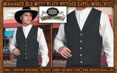 Wahmaker Old West Black Notched Lapel Vest By Scully From Tribal And Western Impressions-Old West Cowboy And Indian Store - www.indianvillagemall.com