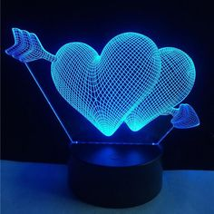 HEART AND HEART 3D LAMP – 5voltplus