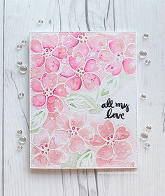 RejoicingCrafts: My card for Essentials by Ellen Pin-Sights Challenge. #pink #watercolor #flower #EssentialsbyEllen #EllenHutsonLLC #PinSightsChallenge
