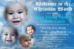 Christening Tarpaulin Christ The King Parish, Tarpaulin Design, Kingdom Of Heaven, Jesus Quotes, Christening, Layout Design, Backdrops, Blues, Birthdays