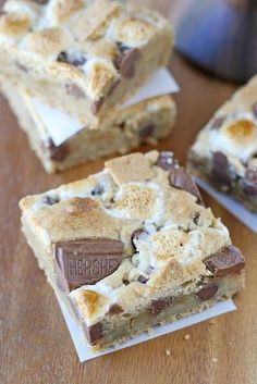 These S'mores Bars are thick, chewy and delicious! It's like a S'mores and a chocolate chip cookie had a baby!