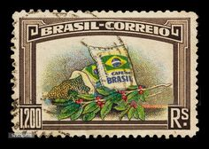 1937 Brazil postage stamp with an illustration of two bags of Brazilian coffee beans and a branch of a coffee plant with ripe coffee beans.