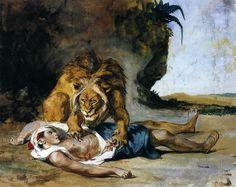 Lion Mauling a Dead Arab  Eugène Delacroix, c. 1847-1850