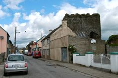 Mullinahone street and ancient fortress tower. Tower, Street View, Lathe, Towers, Building
