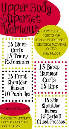 Upper Body Superset Workout: Targets biceps, triceps, chest and shoulders