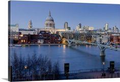 Premium Thick-Wrap Canvas Wall Art Print entitled St Paul's Cathedral and Millennium Bridge, London, England, None